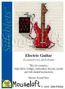 Mouseloft Electric Guitar Stitchlets cross stitch kit